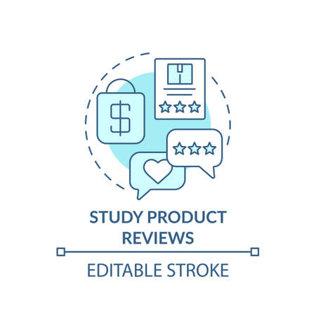 Studying product reviews concept icon. Shopping tip idea thin line illustration. Customers opinion. Online shopping. Purchasing decisions. Vector isolated outline RGB color drawing. Editable stroke