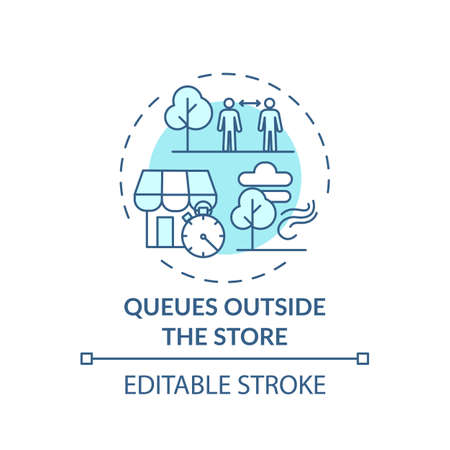 Queues outside store concept icon. Safe shopping during Covid tip idea thin line illustration. Limiting customers number in store. Vector isolated outline RGB color drawing. Editable stroke