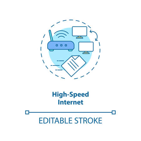 High speed internet concept icon. Wifi connection velocity. Telecommunication. Network access idea thin line illustration. Vector isolated outline RGB color drawing. Editable stroke