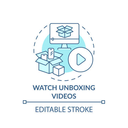 Watching unboxing videos concept icon. Informed customer tip idea thin line illustration. New item presentation. Online review. Vector isolated outline RGB color drawing. Editable stroke