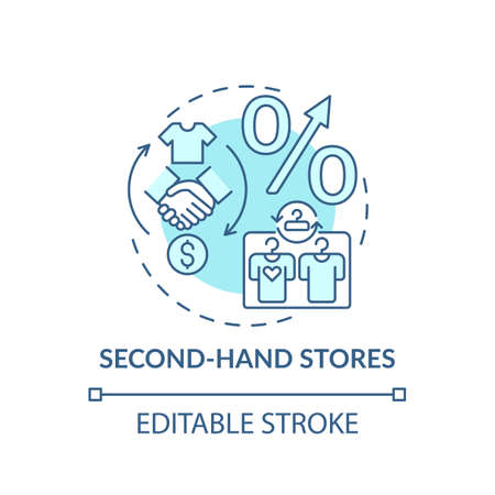 Second-hand stores concept icon. Thrift stores idea thin line illustration. Saving on clothing. Funding specific charitable organization. Vector isolated outline RGB color drawing. Editable stroke Stock Illustratie