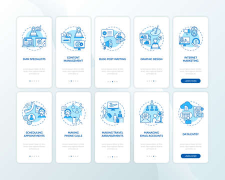 Virtual assistant work blue onboarding mobile app page screen with concepts set. Freelance job walkthrough 5 steps graphic instructions. UI vector template with RGB color illustrations collection