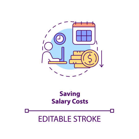 Saving salary costs concept icon. Reduce business expense. Cut budget for worker. Virtual assistant benefit idea thin line illustration. Vector isolated outline RGB color drawing. Editable stroke