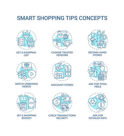 Smart shopping tips concept icons set. Informed customer advices idea thin line RGB color illustrations. Shopping list. Watching unboxing videos. Vector isolated outline drawings. Editable stroke
