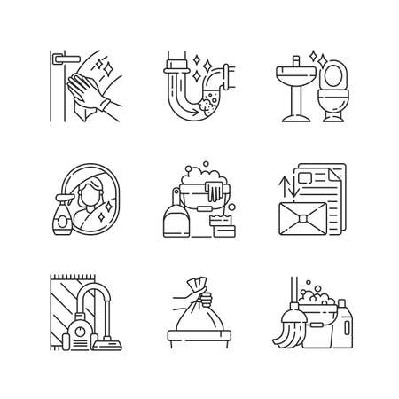 Housekeeping chores linear icons set. Cleaning and plumbing service customizable thin line contour symbols. Domestic responsibilities. Isolated vector outline illustrations. Editable stroke