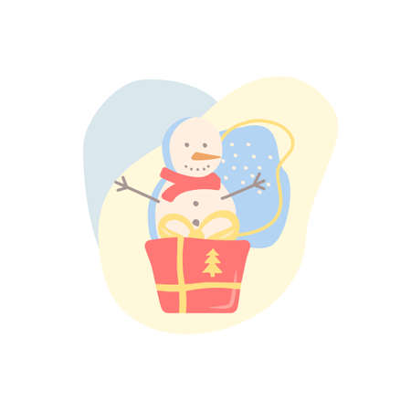 Winter season holiday flat vector concept illustration with abstract shapes. Happy snowman. Wrapped present with ribbon bow. Festive seasonal greeting. Wintertime 2D organic cartoon elements