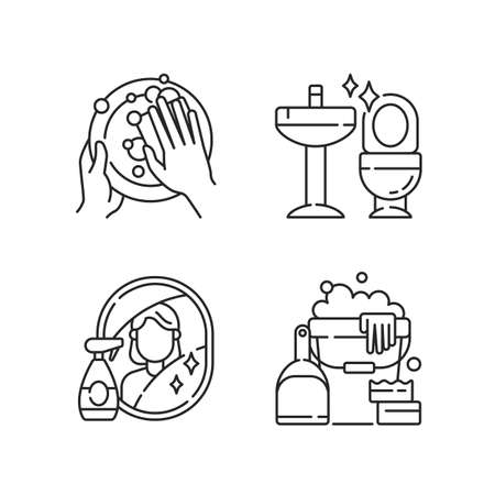 Housewife chores linear icons set. Dish washing, toilet cleanup, mirror washing and sanitizers customizable thin line contour symbols. Isolated vector outline illustrations. Editable stroke