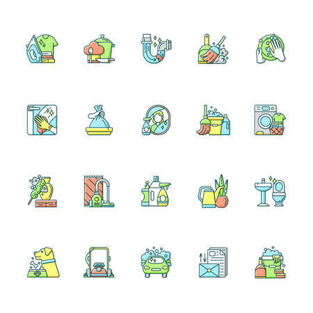 Housekeeping RGB color icons set. Keeping home clean and neat. Different housework, domestic chores. Domestic cleaning service. Isolated vector illustrations