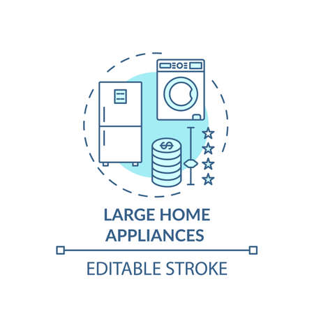 Large home appliances concept icon. Spending more for high quality product idea thin line illustration. White goods. Consumer electronics. Vector isolated outline RGB color drawing. Editable stroke