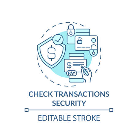 Checking transactions security concept icon. Online shopping tip idea thin line illustration. E-commerce store. Online payment. Vector isolated outline RGB color drawing. Editable stroke