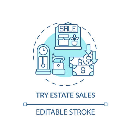 Trying estate sales concept icon. Tag sales idea thin line illustration. Shopping tip. Finding bargains, antiques and unusual items. Vector isolated outline RGB color drawing. Editable stroke