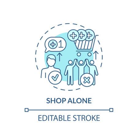Shopping alone concept icon. Financial advantage idea thin line illustration. Avoiding purchases comparison. Single shopper. Vector isolated outline RGB color drawing. Editable stroke