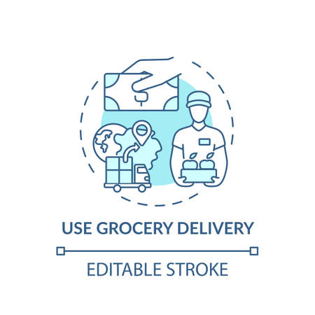 Using grocery delivery concept icon. Shopping tip idea thin line illustration. Sending personal shopper. Meal-kit delivery services. Vector isolated outline RGB color drawing. Editable stroke