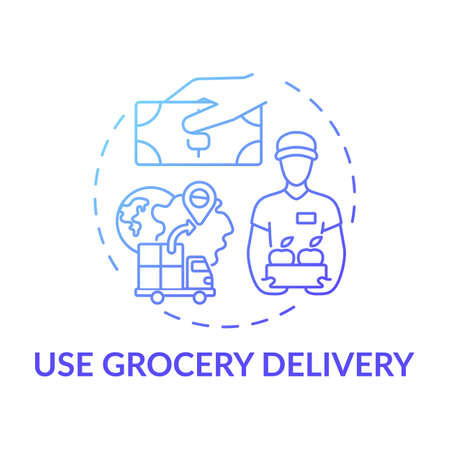 Using grocery delivery concept icon. Shopping tip idea thin line illustration. Saving time on running errands. Delivering to doorstep safely. Vector isolated outline RGB color drawing