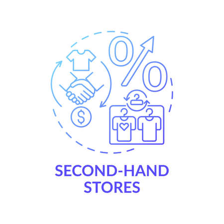 Second-hand stores concept icon. Thrift stores idea thin line illustration. Saving on buying clothing. Selling clothes, books and furniture. Vector isolated outline RGB color drawing Stockfoto - 160404755