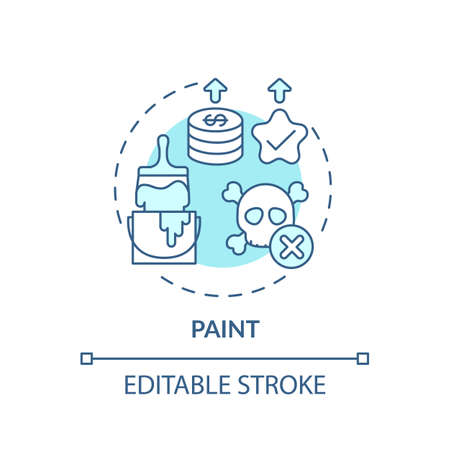Paint concept icon. Spending more for high quality product idea thin line illustration. Walls and household uses. Eco-friendly paints. Vector isolated outline RGB color drawing. Editable stroke  イラスト・ベクター素材