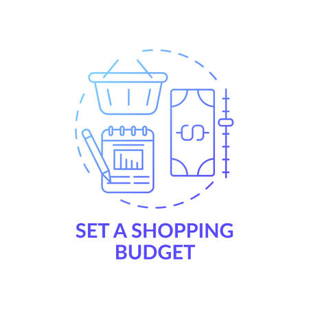 Setting shopping budget concept icon. Shopping tip idea thin line illustration. Tracking money spending for month. Budget per month, plan per week. Vector isolated outline RGB color drawing