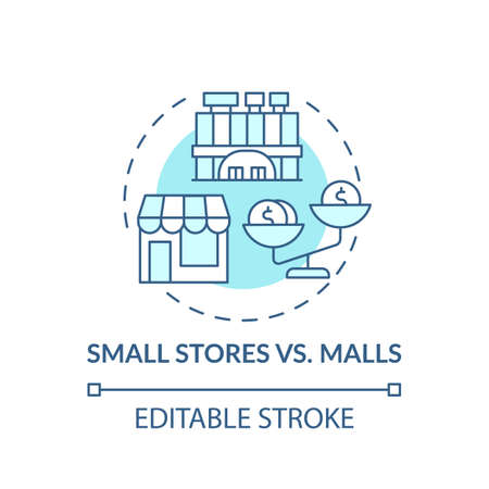 Small stores vs. malls concept icon. Saving money on buying clothing idea thin line illustration. Buying things beyond budget. Vector isolated outline RGB color drawing. Editable stroke