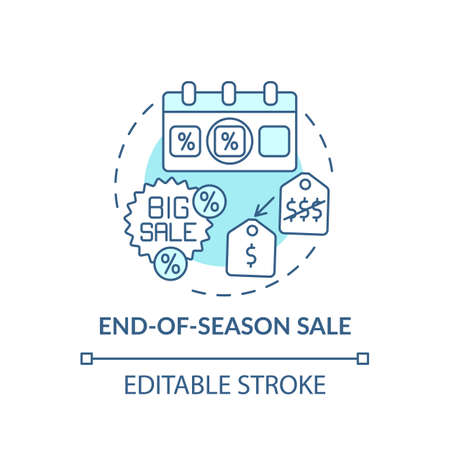 End-of-season sale concept icon. Saving on buying clothing idea thin line illustration. Black Friday. Trend for discount sales. Vector isolated outline RGB color drawing. Editable stroke