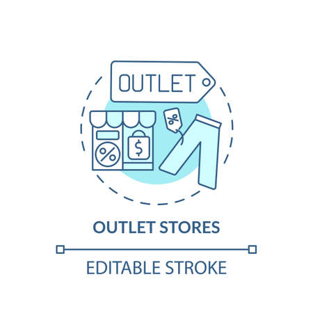 Outlet concept stores icon. Saving money on buying clothing idea thin line illustration. Selling overstock and out-of-season items. Vector isolated outline RGB color drawing. Editable stroke
