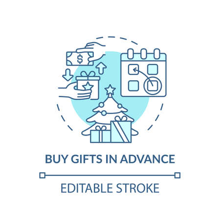Buying gifts in advance concept icon. Shopping tip idea thin line illustration. Post-holiday sales. Christmas and New Year shopping. Vector isolated outline RGB color drawing. Editable stroke Illustration