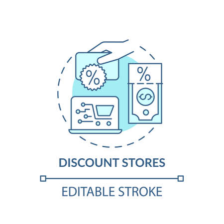 Discount concept stores icon. Saving money on buying clothing idea thin line illustration. Discount superstore. Using cut-pricing techniques. Vector isolated outline RGB color drawing. Editable stroke