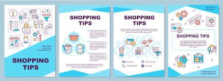 Shopping tips brochure template. Sale, price comparison. Flyer, booklet, leaflet print, cover design with linear icons. Vector layouts for magazines, annual reports, advertising posters