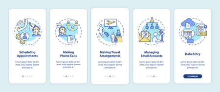 Manager clerical task onboarding mobile app page screen with concepts. Secretary office work walkthrough 5 steps graphic instructions. UI vector template with RGB color illustrations