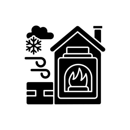 Warming center black glyph icon. Short term emergency shelter that operates when temperatures becomig low. Help people to get warm. Silhouette symbol on white space. Vector isolated illustration