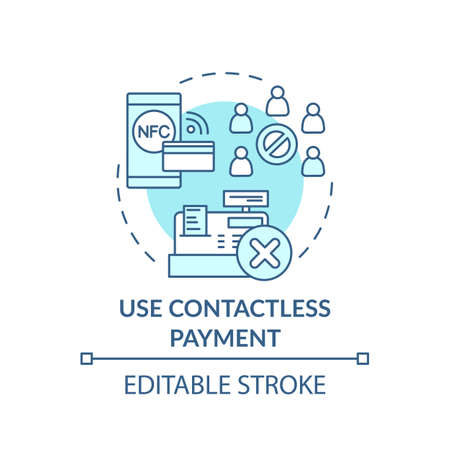 Using contactless payment concept icon. Safe shopping during Covid tip idea thin line illustration. Touch-free paying. Cash-spending habits. Vector isolated outline RGB color drawing. Editable stroke