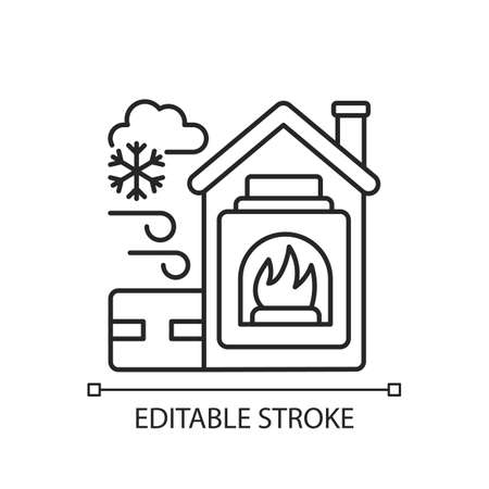 Warming center linear icon. Short term emergency shelter that operates when temperatures low. Thin line customizable illustration. Contour symbol. Vector isolated outline drawing. Editable stroke
