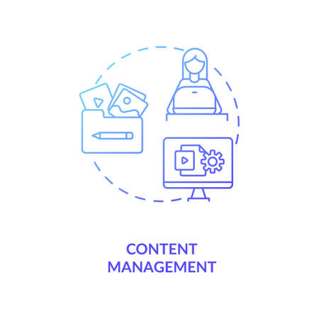 Content management blue gradient concept icon. Post on internet. Blog administration. Social media manager. Virtual assistant idea thin line illustration. Vector isolated outline RGB color drawing