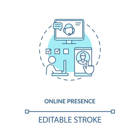 Online presence turquoise concept icon. Social media manager. Network specialist. Virtual assistant help idea thin line illustration. Vector isolated outline RGB color drawing. Editable stroke Çizim