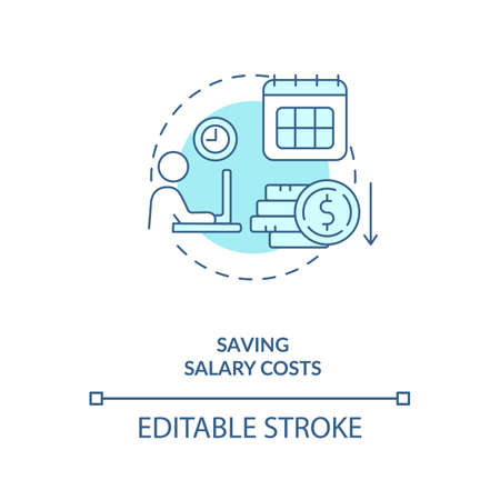 Saving salary costs turquoise concept icon. Reduce business expense. Virtual assistant benefit idea thin line illustration. Vector isolated outline RGB color drawing. Editable stroke