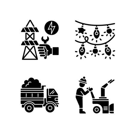 Winter city service black glyph icons set on white space. Repairing power lines between big cities. Colorful christmas lights. Snow blowing machine. Silhouette symbols. Vector isolated illustration