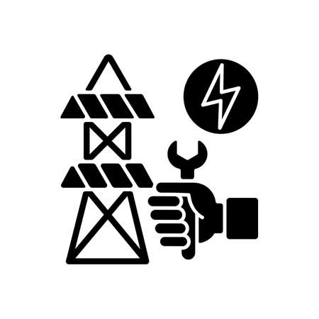 Repairing power lines black glyph icon. Fixing electricity connection between two cities. Dangerous situations after strong snow. Silhouette symbol on white space. Vector isolated illustration