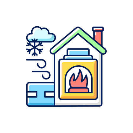 Warming center RGB color icon. Short term emergency shelter that operates when temperatures becomig low. Help people to get warm. Isolated vector illustration