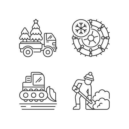 Winter holidays service linear icons set. Christmas tree delivery to your home. Studded tires for car. Customizable thin line contour symbols. Isolated vector outline illustrations. Editable stroke
