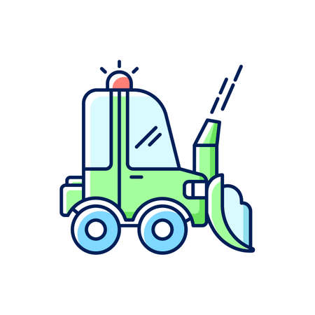 Snow blowing RGB color icon. Using machine for removing snow from area around your house. Cleaning service in winter. Isolated vector illustration