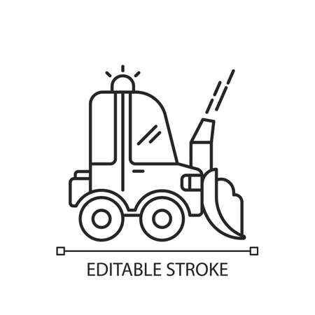 Snow blowing linear icon. Using machine for removing snow from area around your house. Thin line customizable illustration. Contour symbol. Vector isolated outline drawing. Editable stroke