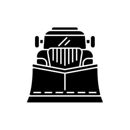 Snow blades for trucks black glyph icon. Snow plow winter service. Cleaning streets from winter weather. Tools for huge cars. Silhouette symbol on white space. Vector isolated illustration
