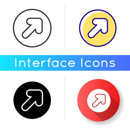 Arrow icon. Showing path for user. Direction sign for your app development. Interface ui component creation. Linear black and RGB color styles. Isolated vector illustrations