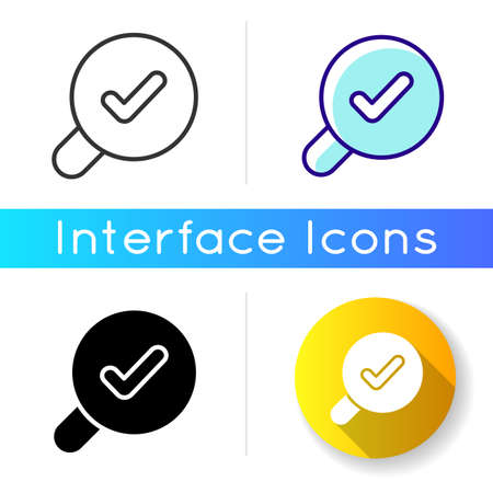 Search icon. Finding different data using keywords. Help user to navigate within different content in applcation. Linear black and RGB color styles. Isolated vector illustrations