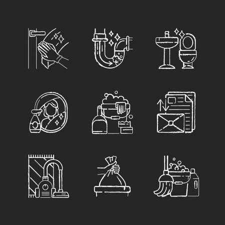 Housekeeping chores chalk white icons set on black background. Professional cleaning and plumbing service. Domestic responsibilities, work around the house. Isolated vector chalkboard illustrations