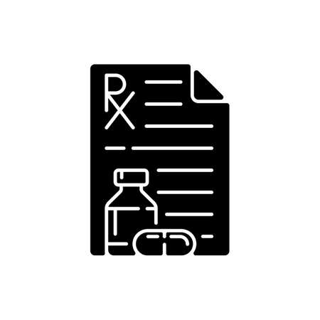 Prescription black glyph icon. Receiving medication prescribed online. Pharmaceutical drugs, vitamins. Physician order for patient. Silhouette symbol on white space. Vector isolated illustration Vektorové ilustrace