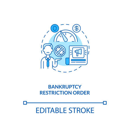 Bankruptcy restriction order blue concept icon. Financial crisis. Legal restriction. Debtor with mortgage idea thin line illustration. Vector isolated outline RGB color drawing. Editable stroke Иллюстрация