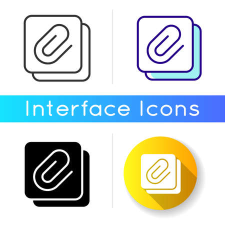 Enclosure icon. Attachment of different personal data files. Sending images and videos. Mobile interface items. Linear black and RGB color styles. Isolated vector illustrations 向量圖像
