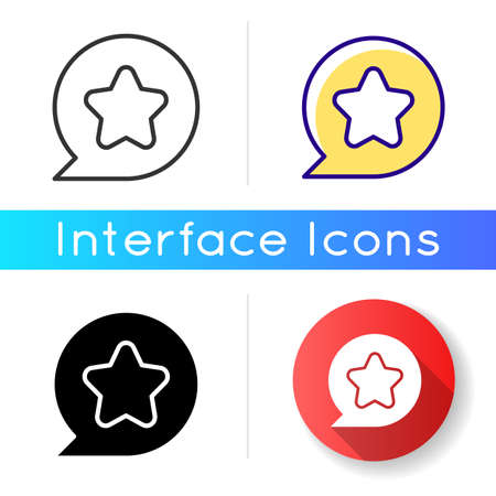 Star icon. User can mark favorite place on map. Toggle item to saved. User friendly system interface creation. Linear black and RGB color styles. Isolated vector illustrations Vectores