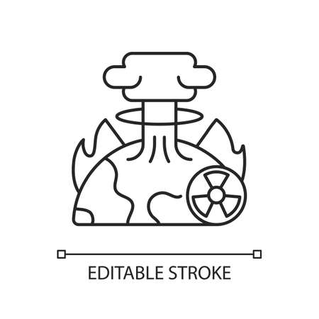 Apocalypse linear icon. End of whole world existence. Damaging every people life. Awful scenario. Thin line customizable illustration. Contour symbol. Vector isolated outline drawing. Editable stroke
