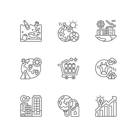Global warming linear icons set. Air pollution with chemical dust. Damaging by reducing resources. Customizable thin line contour symbols. Isolated vector outline illustrations. Editable stroke